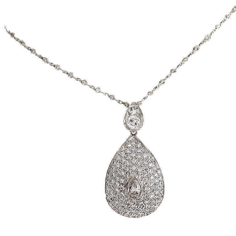Two Carat Diamond White Gold Pendant/Brooch with Pear-Shaped Center Diamond For Sale