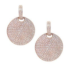 4.15 Carat Diamond Rose Gold Disc Earrings