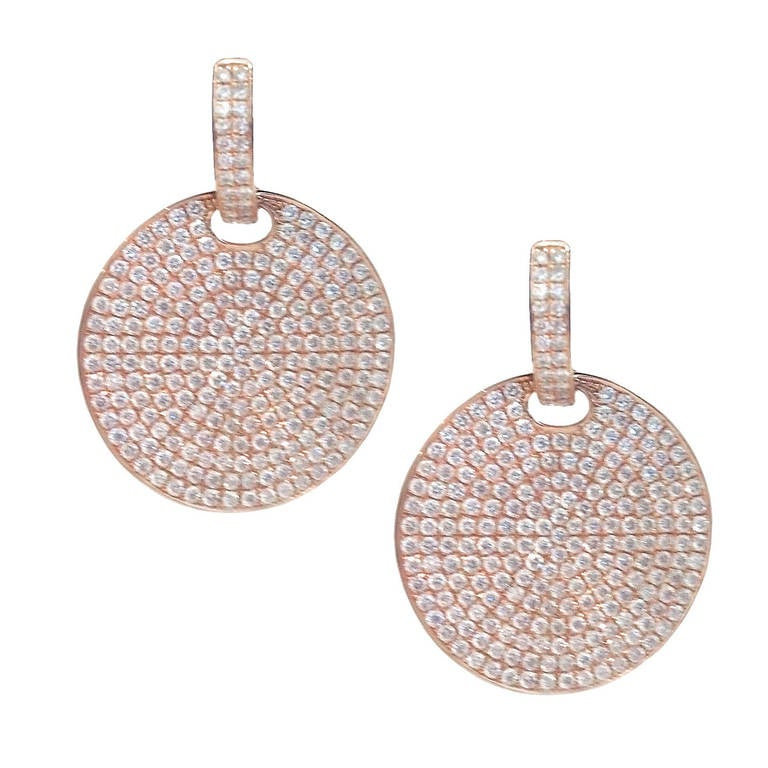 4 15 Carat Diamond Rose Gold Disc Earrings For
