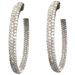 Chic Diamond 7 Carat White Gold Hoop Earrings