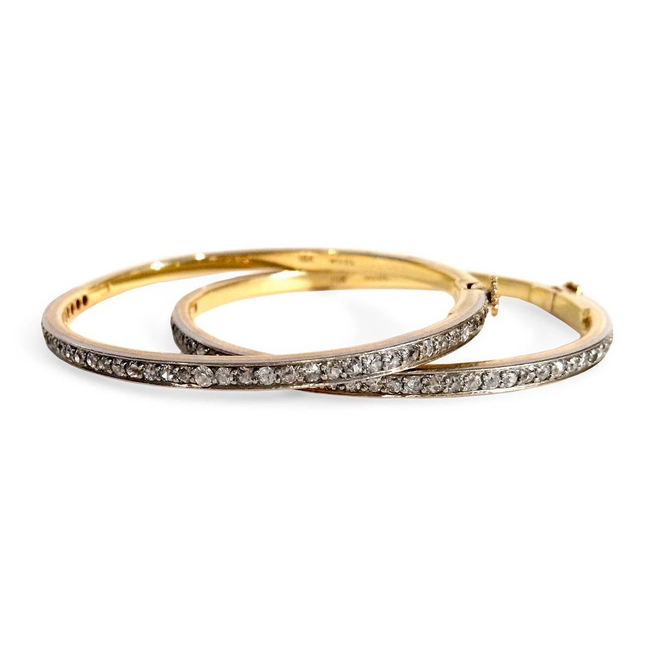 Pair of Diamond Gold Platinum Bangle Bracelets 3