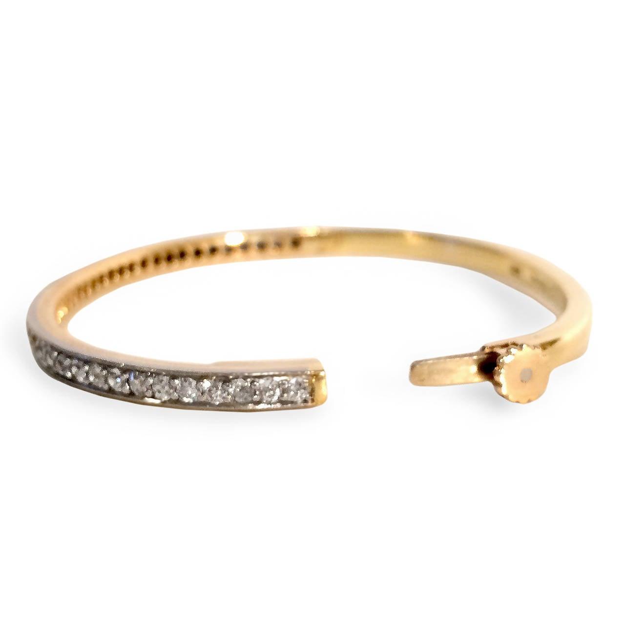 Pair of Diamond Gold Platinum Bangle Bracelets 2