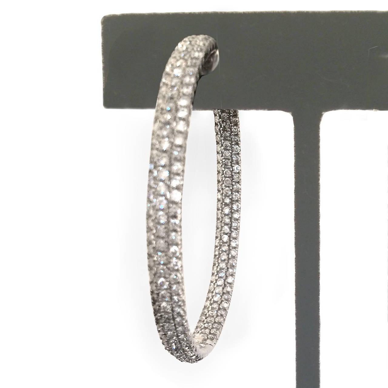 Chic Diamond 7 Carat White Gold Hoop Earrings 2