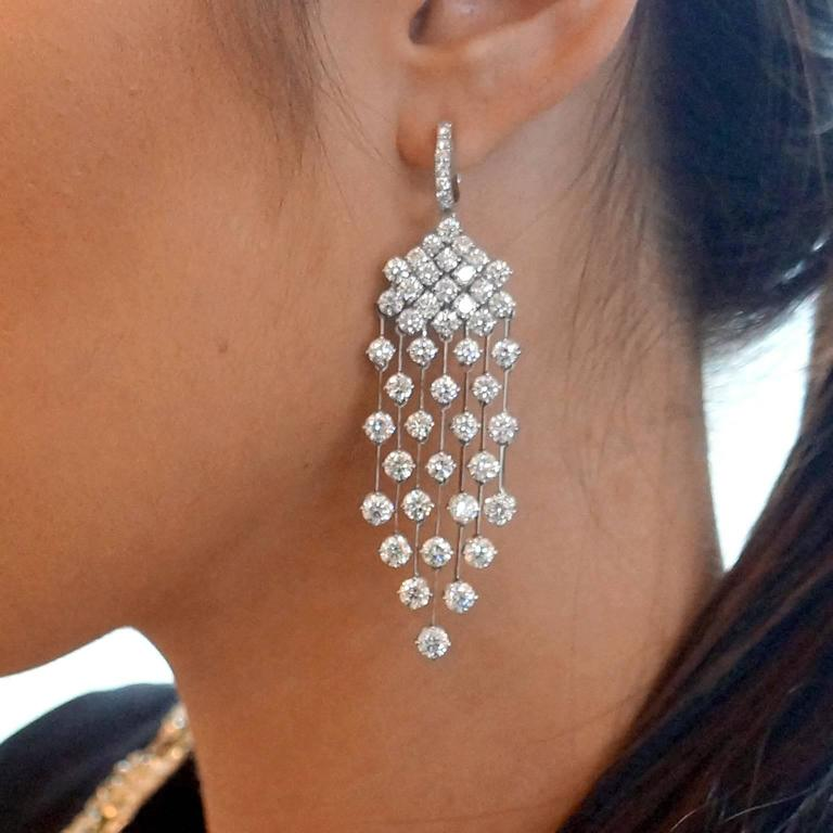 16 5 Carat Diamond Gold Quot Red Carpet Quot Drop Earrings For