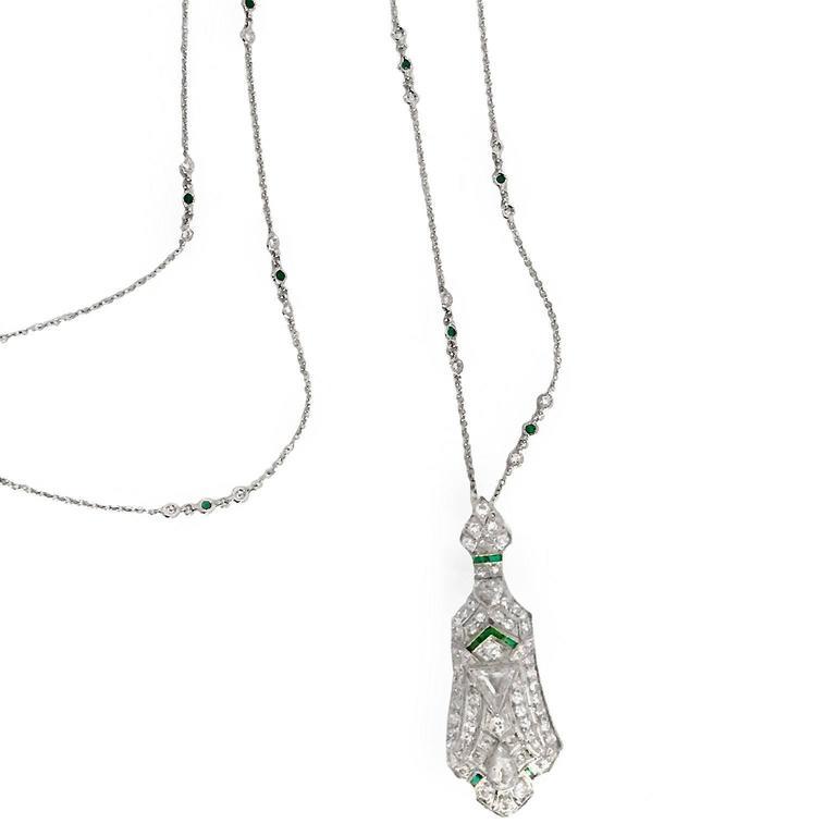 Art Deco 3.5 Carat Emerald Diamond Platinum Pendant Pin 2
