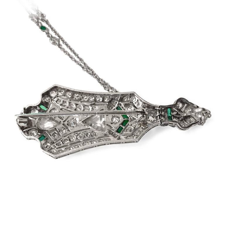 Art Deco 3.5 Carat Emerald Diamond Platinum Pendant Pin 4