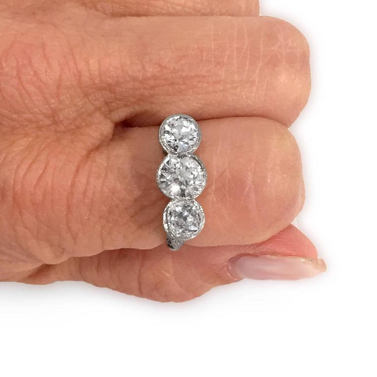 Edwardian Diamond Platinum Original 3 Stone Ring 3