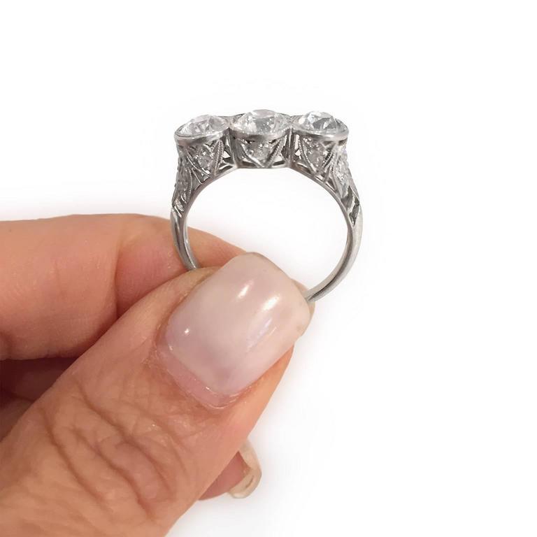 Edwardian Diamond Platinum Original 3 Stone Ring 4