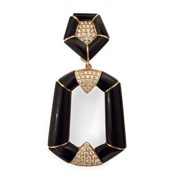 Onyx Diamond Gold Dangle Earrings 2