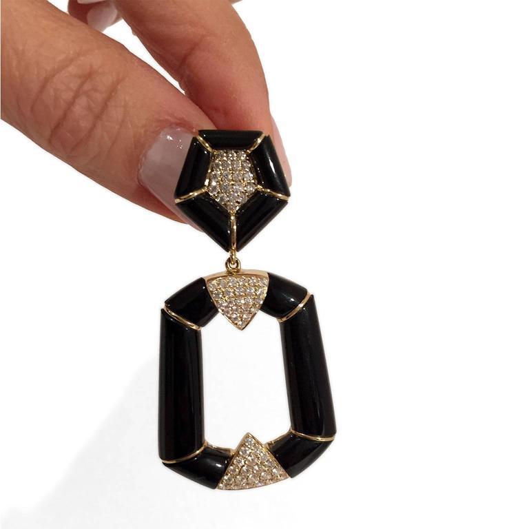 Onyx Diamond Gold Dangle Earrings 3