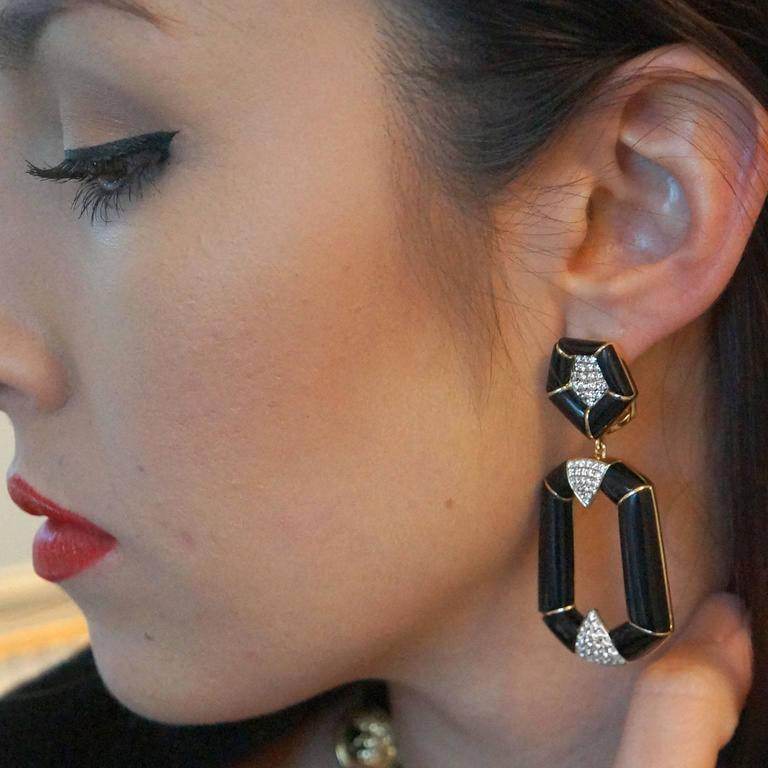 Onyx Diamond Gold Dangle Earrings 4