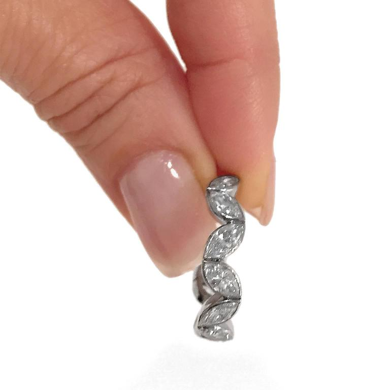 Fred Paris 3 Carat Marquise Cut Diamond Platinum Wedding Band Ring 2