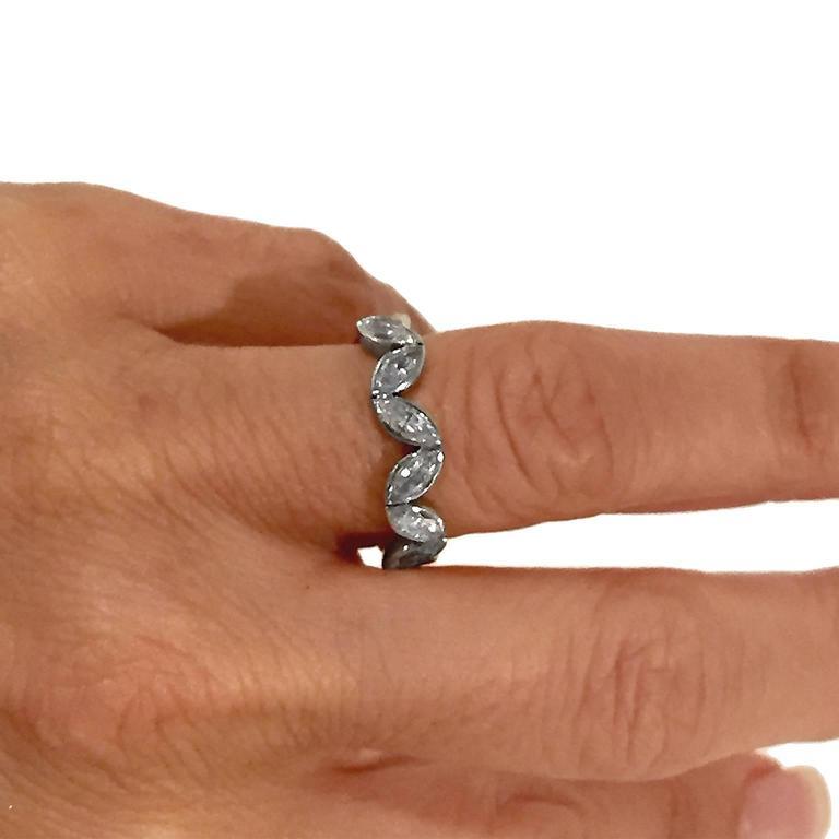 Fred Paris 3 Carat Marquise Cut Diamond Platinum Wedding Band Ring 3