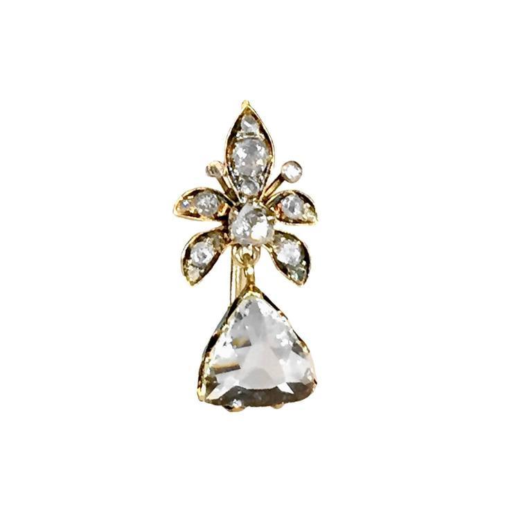 Victorian 4 Carat Rose-Cut Diamond Gold Earrings 2