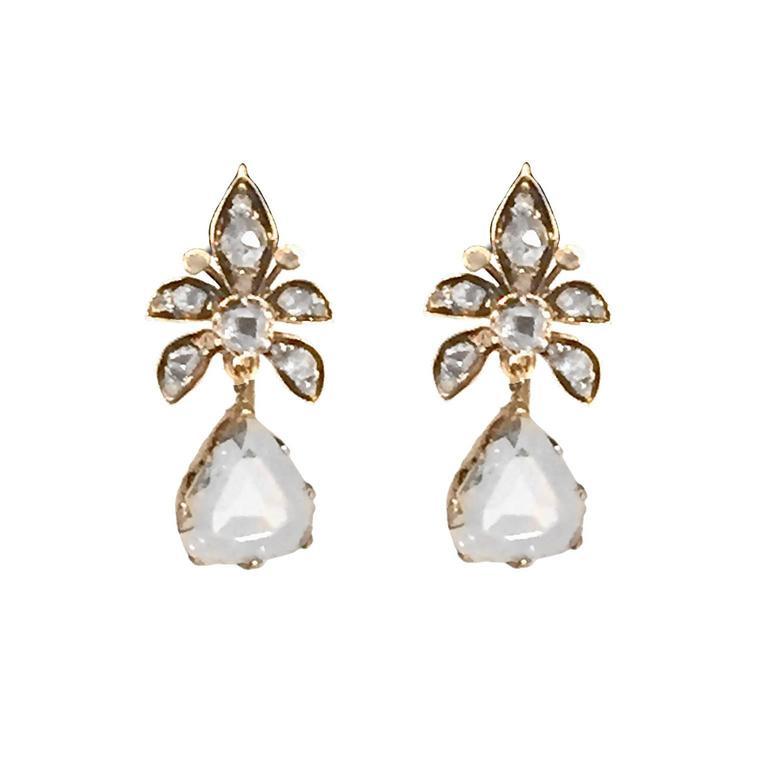 Victorian 4 Carat Rose-Cut Diamond Gold Earrings 3