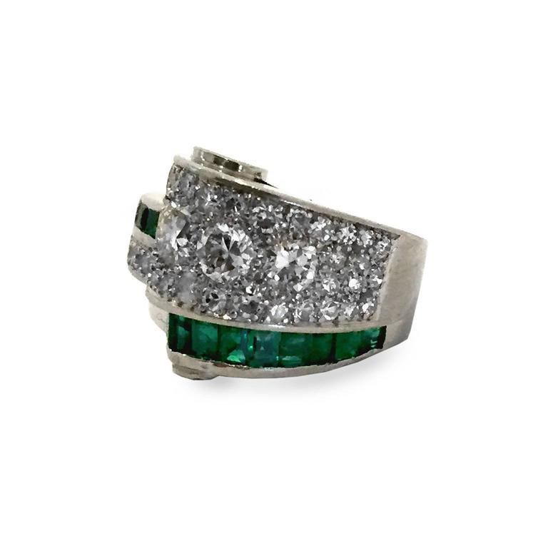 Art Deco 2.66 Carat Emerald Diamond Platinum Bridge Ring 2