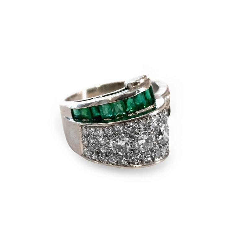 deco 2 66 carat emerald platinum bridge ring