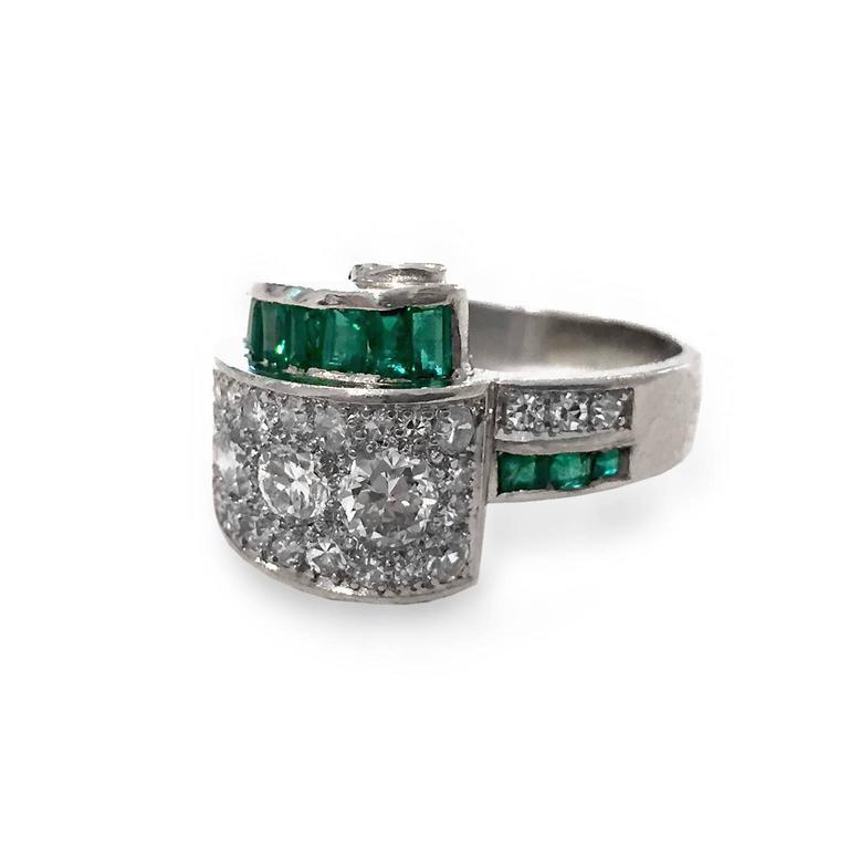 Art Deco 2.66 Carat Emerald Diamond Platinum Bridge Ring 4