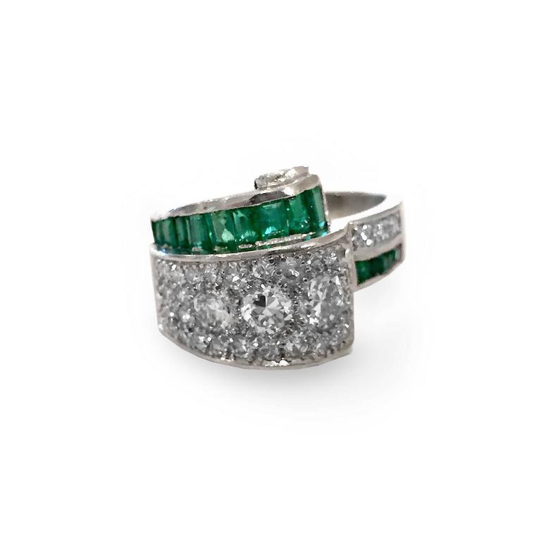 Art Deco 2.66 Carat Emerald Diamond Platinum Bridge Ring 5