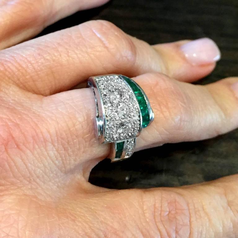 Art Deco 2.66 Carat Emerald Diamond Platinum Bridge Ring 7