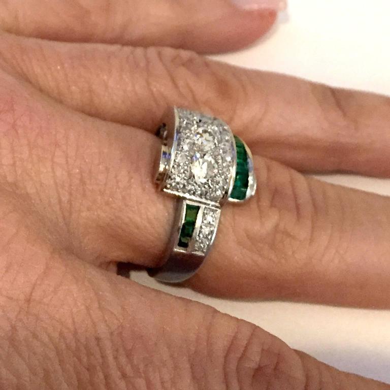Art Deco 2.66 Carat Emerald Diamond Platinum Bridge Ring 6
