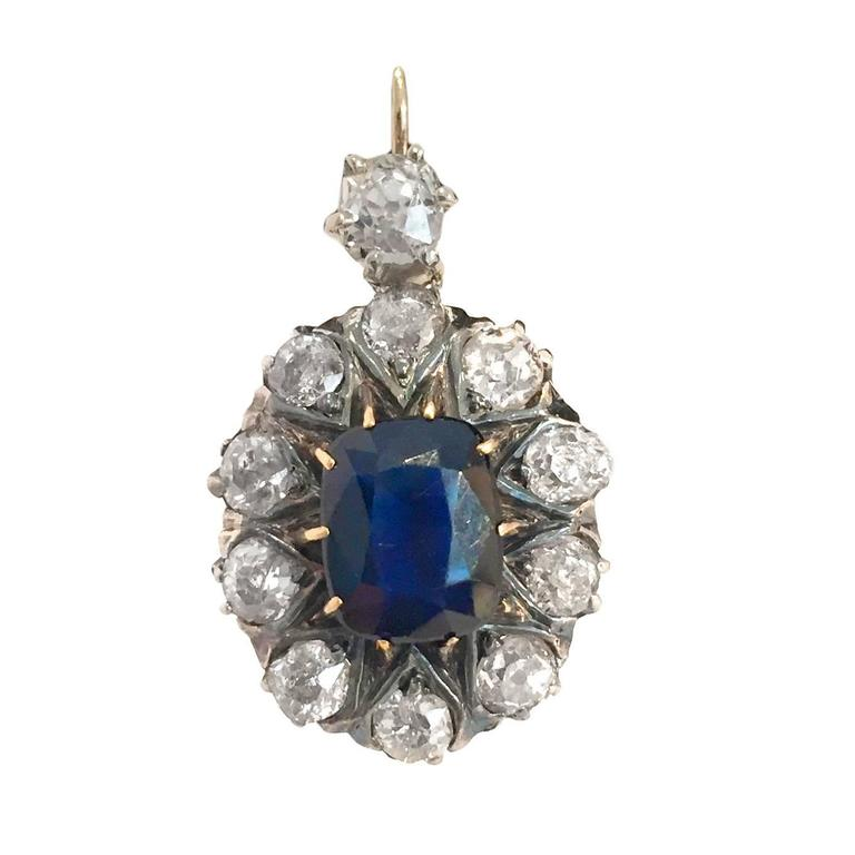 Victorian 7.8 Carat Sapphire Diamond Silver Gold Drop Earrings 2