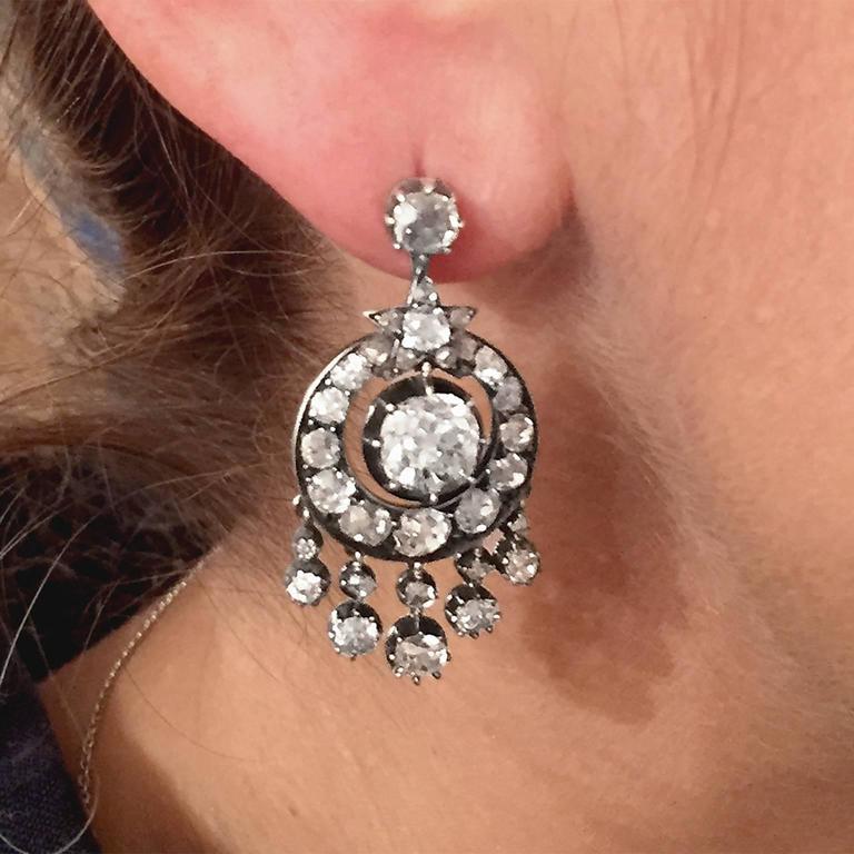 Victorian 6 Carat Diamond Silver White Gold Chandelier Earrings 3