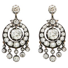 Victorian 6 Carat Diamond Silver White Gold Chandelier Earrings