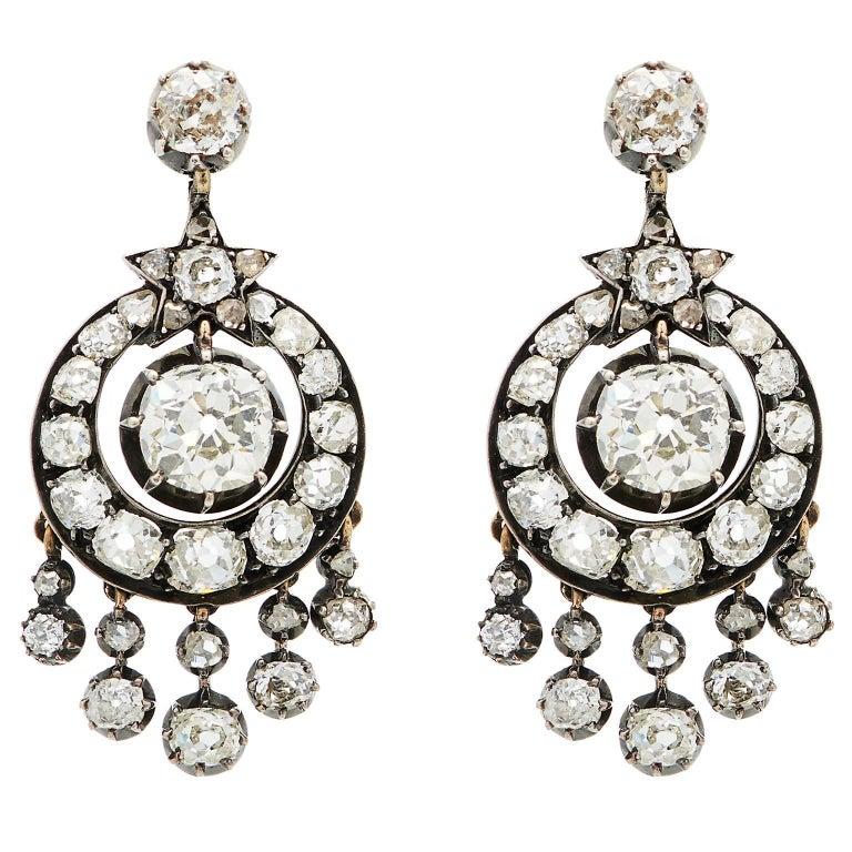 Victorian 6 Carat Diamond Silver White Gold Chandelier Earrings 1