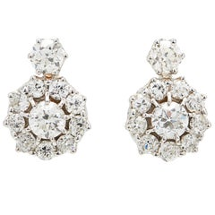 Outstanding 5.70 Carat Old Mine-Cut Diamond Gold Cluster Earrings
