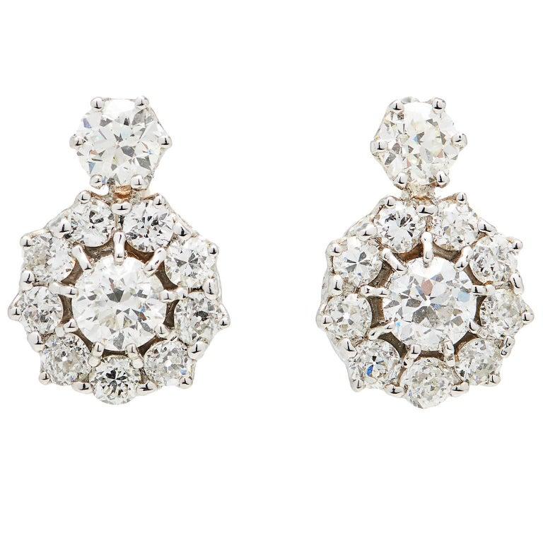 Outstanding Old Mine-Cut Diamond Gold Cluster Earrings
