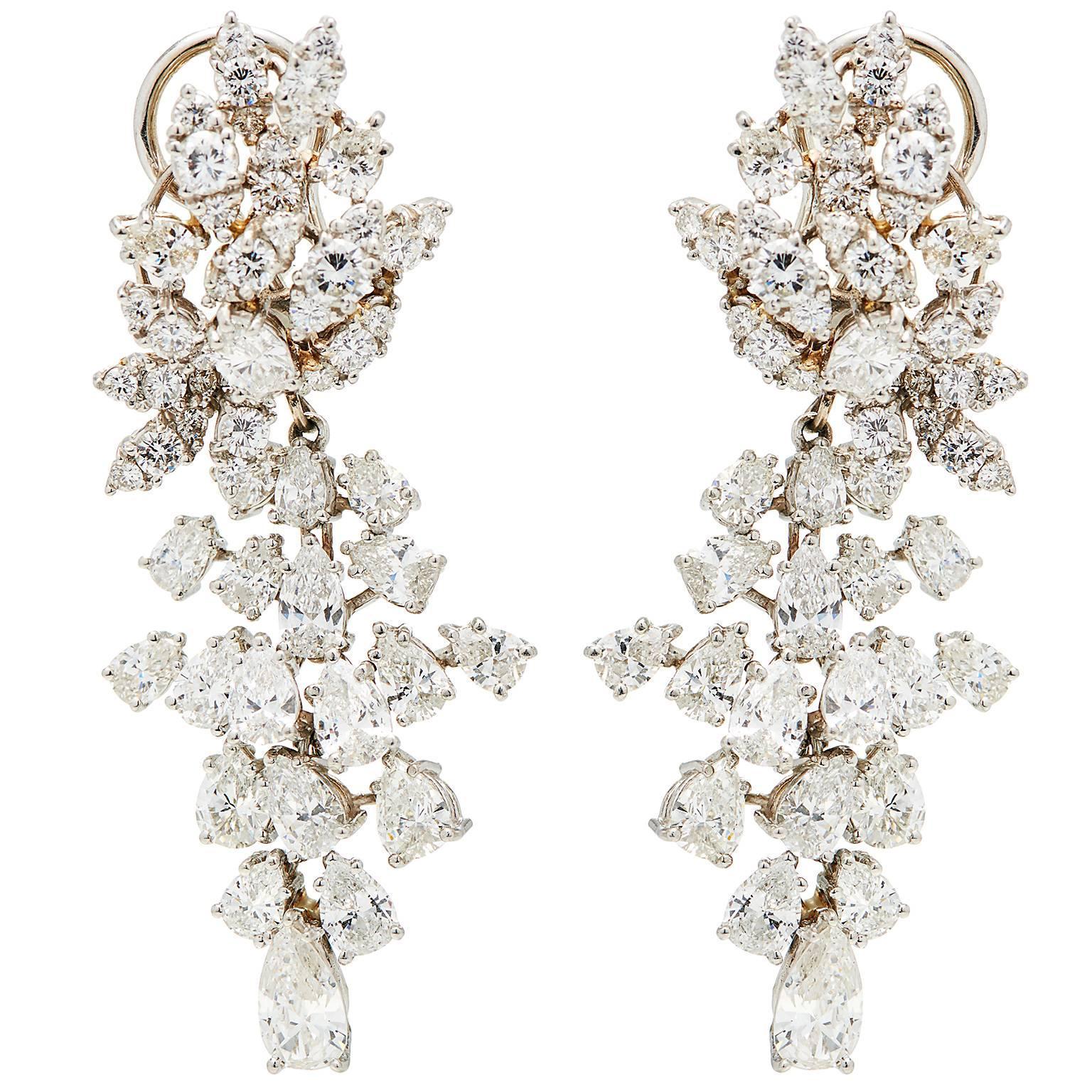 "Over 10 Carat Diamond Platinum ""Day to Gala"" Chandelier Drop Detachable Earrings"