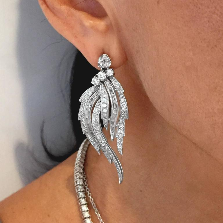 Divine 1950s 7 Carat Diamond Platinum Feathered Chandelier Earrings 3