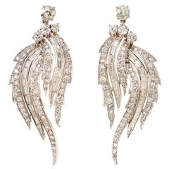 Divine 1950s 7 Carat Diamond Platinum Feathered Chandelier Earrings