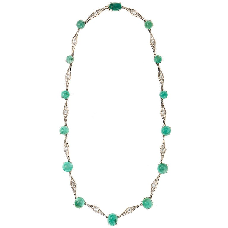 Art Deco Emerald Diamond Platinum Choker Necklace 1