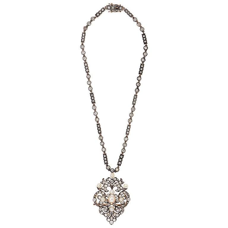 Elegant Victorian Pearl and Diamond Brooch/Pendant 2