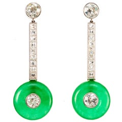 Elegant 1950s 6 Carat Jade Diamond Platinum Earrings