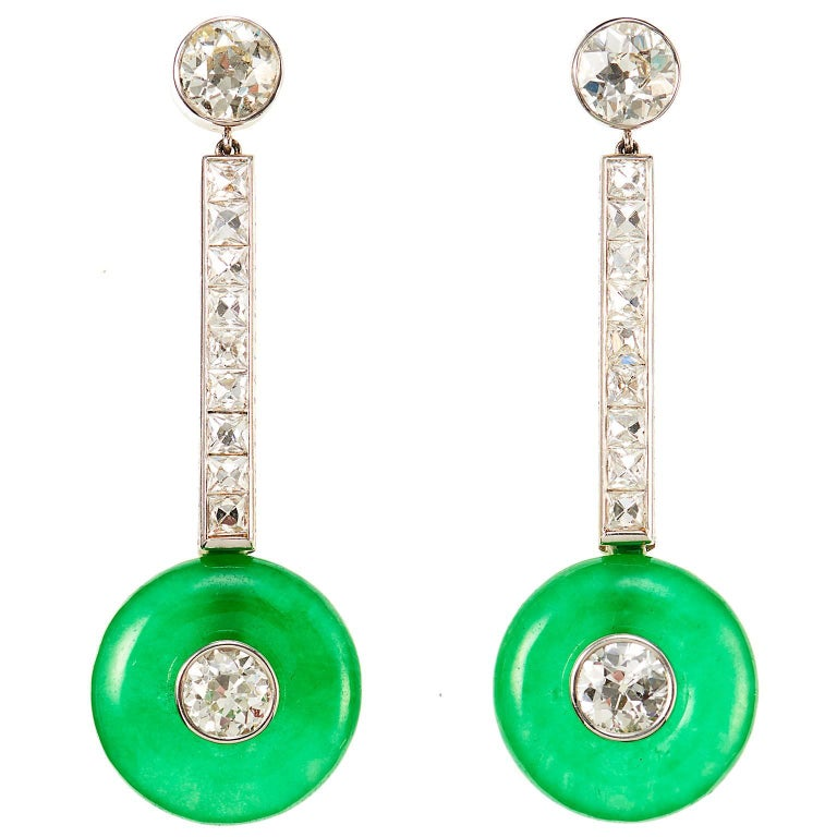 Elegant 1950s 6 Carat Jade Diamond Platinum Earrings 1