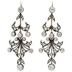 Victorian 6 Carat Diamond Silver Backed in Yellow Gold Chandelier Earrings