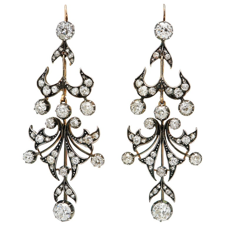 Victorian 6 Carat Diamond Silver Backed in Yellow Gold Chandelier Earrings