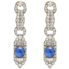 French Star Sapphire Diamond Platinum Earrings