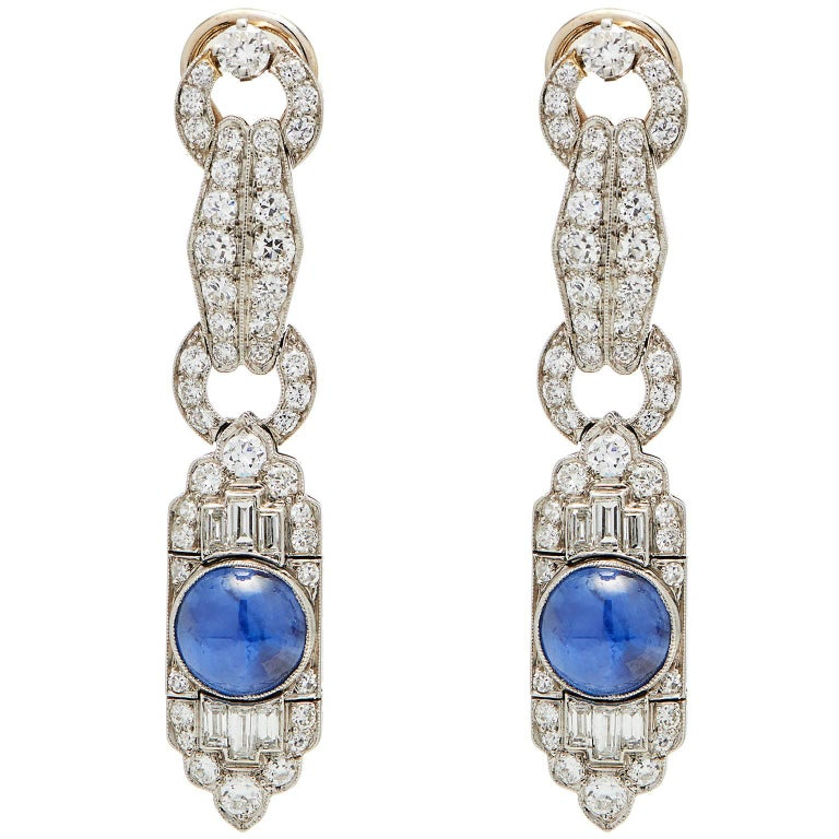 French Star Sapphire Diamond Platinum Earrings 1