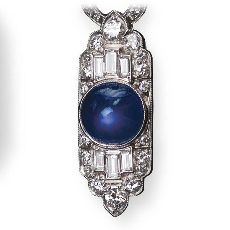 French Star Sapphire Diamond Platinum Earrings 3