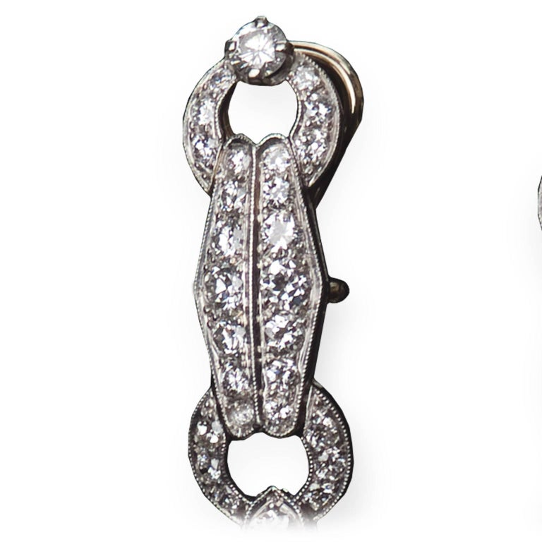 French Star Sapphire Diamond Platinum Earrings 4