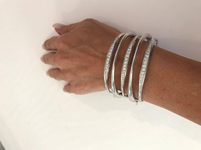 Diamond White Gold Multi-Loop Cuff Bracelet In Excellent Condition For Sale In New York, NY