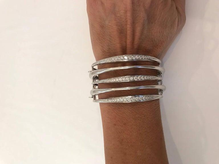 Modern Diamond White Gold Multi-Loop Cuff Bracelet For Sale