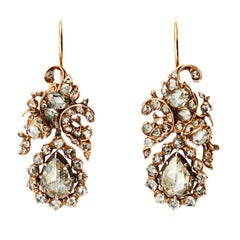 Antique Rose  Diamond Silver Gold Floral Drop Earrings