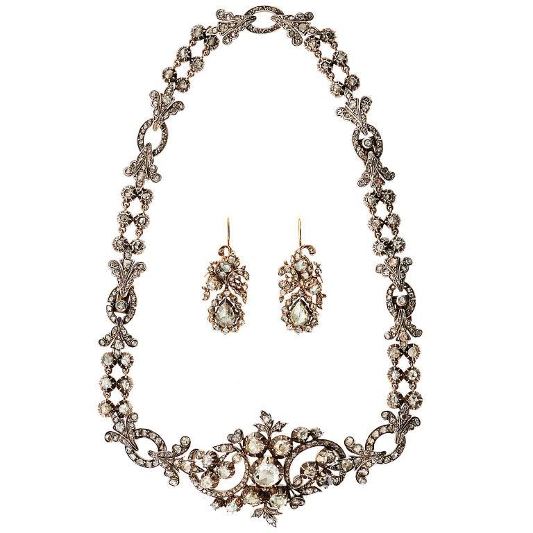 Antique Rose Cut 6 Carat Diamond Silver Gold Floral Drop Earrings 5