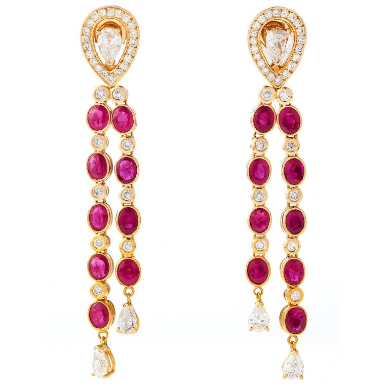 Dripping Burma Ruby and  Diamond Earrings 1
