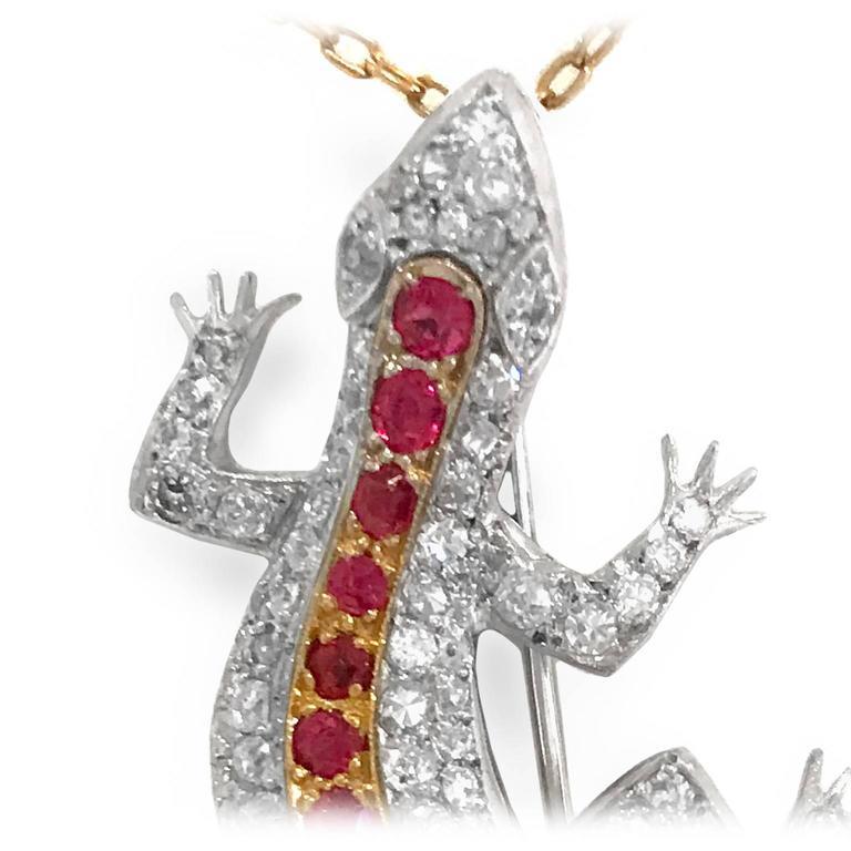 Edwardian Diamond Spinel yellow gold Salamander Pendant Pin 2